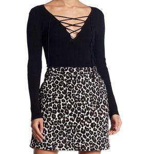 NWT Sanctuary Cheetah Leopard Textured Mini Skirt
